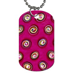 Digitally Painted Abstract Polka Dot Swirls On A Pink Background Dog Tag (One Side)