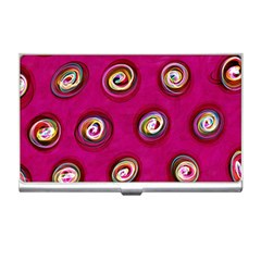 Digitally Painted Abstract Polka Dot Swirls On A Pink Background Business Card Holders