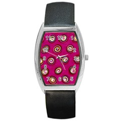 Digitally Painted Abstract Polka Dot Swirls On A Pink Background Barrel Style Metal Watch