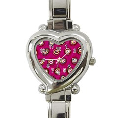 Digitally Painted Abstract Polka Dot Swirls On A Pink Background Heart Italian Charm Watch