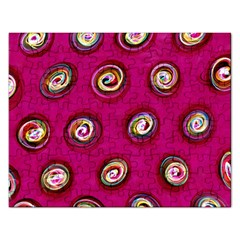 Digitally Painted Abstract Polka Dot Swirls On A Pink Background Rectangular Jigsaw Puzzl
