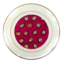Digitally Painted Abstract Polka Dot Swirls On A Pink Background Porcelain Plates