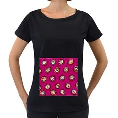 Digitally Painted Abstract Polka Dot Swirls On A Pink Background Women s Loose Fit T Shirt (black)