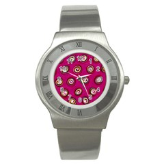 Digitally Painted Abstract Polka Dot Swirls On A Pink Background Stainless Steel Watch