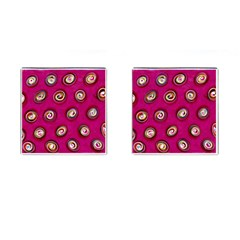 Digitally Painted Abstract Polka Dot Swirls On A Pink Background Cufflinks (square)