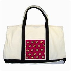Digitally Painted Abstract Polka Dot Swirls On A Pink Background Two Tone Tote Bag