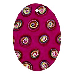 Digitally Painted Abstract Polka Dot Swirls On A Pink Background Oval Ornament (two Sides)
