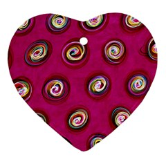 Digitally Painted Abstract Polka Dot Swirls On A Pink Background Heart Ornament (Two Sides)