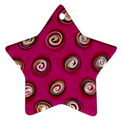 Digitally Painted Abstract Polka Dot Swirls On A Pink Background Star Ornament (Two Sides)