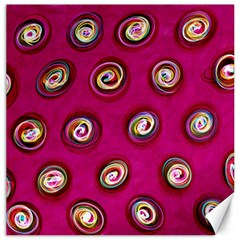 Digitally Painted Abstract Polka Dot Swirls On A Pink Background Canvas 20  X 20
