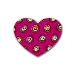 Digitally Painted Abstract Polka Dot Swirls On A Pink Background Heart Coaster (4 Pack)