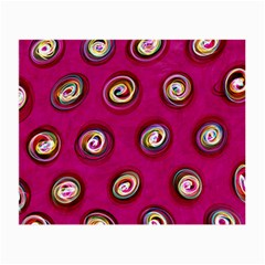 Digitally Painted Abstract Polka Dot Swirls On A Pink Background Small Glasses Cloth (2-Side)