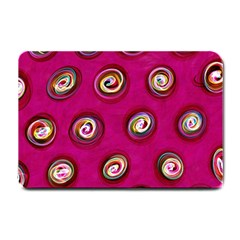 Digitally Painted Abstract Polka Dot Swirls On A Pink Background Small Doormat