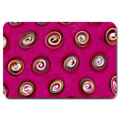 Digitally Painted Abstract Polka Dot Swirls On A Pink Background Large Doormat