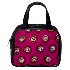 Digitally Painted Abstract Polka Dot Swirls On A Pink Background Classic Handbags (One Side)