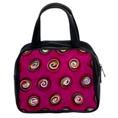 Digitally Painted Abstract Polka Dot Swirls On A Pink Background Classic Handbags (2 Sides)