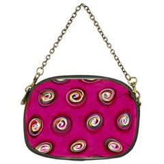 Digitally Painted Abstract Polka Dot Swirls On A Pink Background Chain Purses (One Side)