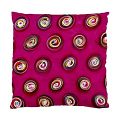 Digitally Painted Abstract Polka Dot Swirls On A Pink Background Standard Cushion Case (One Side)