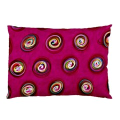Digitally Painted Abstract Polka Dot Swirls On A Pink Background Pillow Case