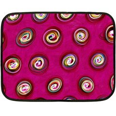 Digitally Painted Abstract Polka Dot Swirls On A Pink Background Fleece Blanket (mini)