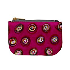 Digitally Painted Abstract Polka Dot Swirls On A Pink Background Mini Coin Purses