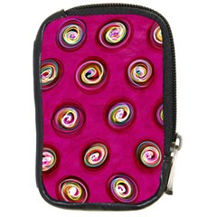 Digitally Painted Abstract Polka Dot Swirls On A Pink Background Compact Camera Cases
