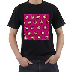 Digitally Painted Abstract Polka Dot Swirls On A Pink Background Men s T-Shirt (Black)