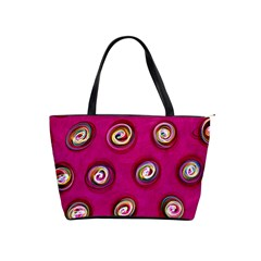 Digitally Painted Abstract Polka Dot Swirls On A Pink Background Shoulder Handbags