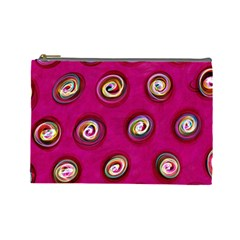 Digitally Painted Abstract Polka Dot Swirls On A Pink Background Cosmetic Bag (large)