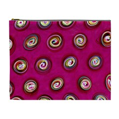 Digitally Painted Abstract Polka Dot Swirls On A Pink Background Cosmetic Bag (XL)