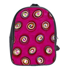 Digitally Painted Abstract Polka Dot Swirls On A Pink Background School Bags(large)