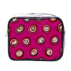Digitally Painted Abstract Polka Dot Swirls On A Pink Background Mini Toiletries Bags