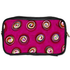 Digitally Painted Abstract Polka Dot Swirls On A Pink Background Toiletries Bags