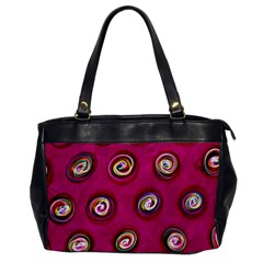 Digitally Painted Abstract Polka Dot Swirls On A Pink Background Office Handbags