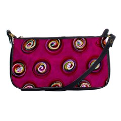 Digitally Painted Abstract Polka Dot Swirls On A Pink Background Shoulder Clutch Bags