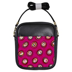 Digitally Painted Abstract Polka Dot Swirls On A Pink Background Girls Sling Bags