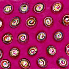 Digitally Painted Abstract Polka Dot Swirls On A Pink Background Magic Photo Cubes