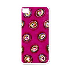 Digitally Painted Abstract Polka Dot Swirls On A Pink Background Apple Iphone 4 Case (white)