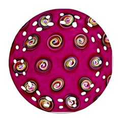 Digitally Painted Abstract Polka Dot Swirls On A Pink Background Round Filigree Ornament (Two Sides)