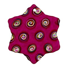 Digitally Painted Abstract Polka Dot Swirls On A Pink Background Snowflake Ornament (Two Sides)