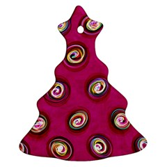 Digitally Painted Abstract Polka Dot Swirls On A Pink Background Christmas Tree Ornament (two Sides)