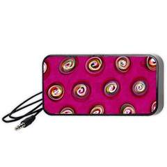 Digitally Painted Abstract Polka Dot Swirls On A Pink Background Portable Speaker (black)