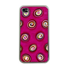 Digitally Painted Abstract Polka Dot Swirls On A Pink Background Apple iPhone 4 Case (Clear)