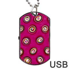 Digitally Painted Abstract Polka Dot Swirls On A Pink Background Dog Tag USB Flash (One Side)