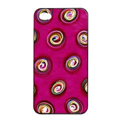 Digitally Painted Abstract Polka Dot Swirls On A Pink Background Apple iPhone 4/4s Seamless Case (Black)