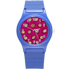 Digitally Painted Abstract Polka Dot Swirls On A Pink Background Round Plastic Sport Watch (S)