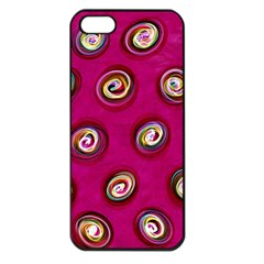Digitally Painted Abstract Polka Dot Swirls On A Pink Background Apple iPhone 5 Seamless Case (Black)