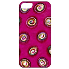 Digitally Painted Abstract Polka Dot Swirls On A Pink Background Apple iPhone 5 Classic Hardshell Case