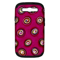Digitally Painted Abstract Polka Dot Swirls On A Pink Background Samsung Galaxy S Iii Hardshell Case (pc+silicone)