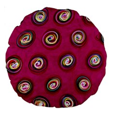 Digitally Painted Abstract Polka Dot Swirls On A Pink Background Large 18  Premium Round Cushions